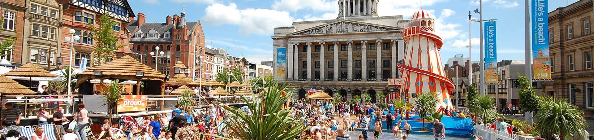 Temporary beach at Market Square, Nottingham