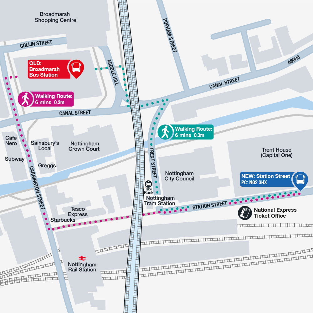 Nottingham Station Route Map